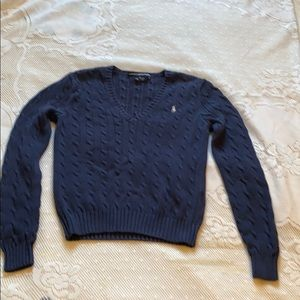 Ralph Lauren Sport Navy Blue Cable V-neck Sweater